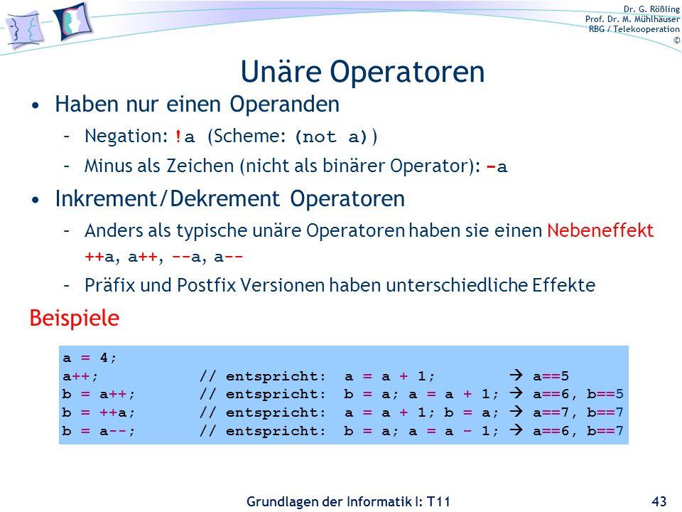 Dr. G. Rößling Prof. Dr. M. Mühlhäuser RBG / Telekooperation © Grundlagen der Informatik I: T11 Unäre Operatoren Haben nur einen Operanden –Negation: