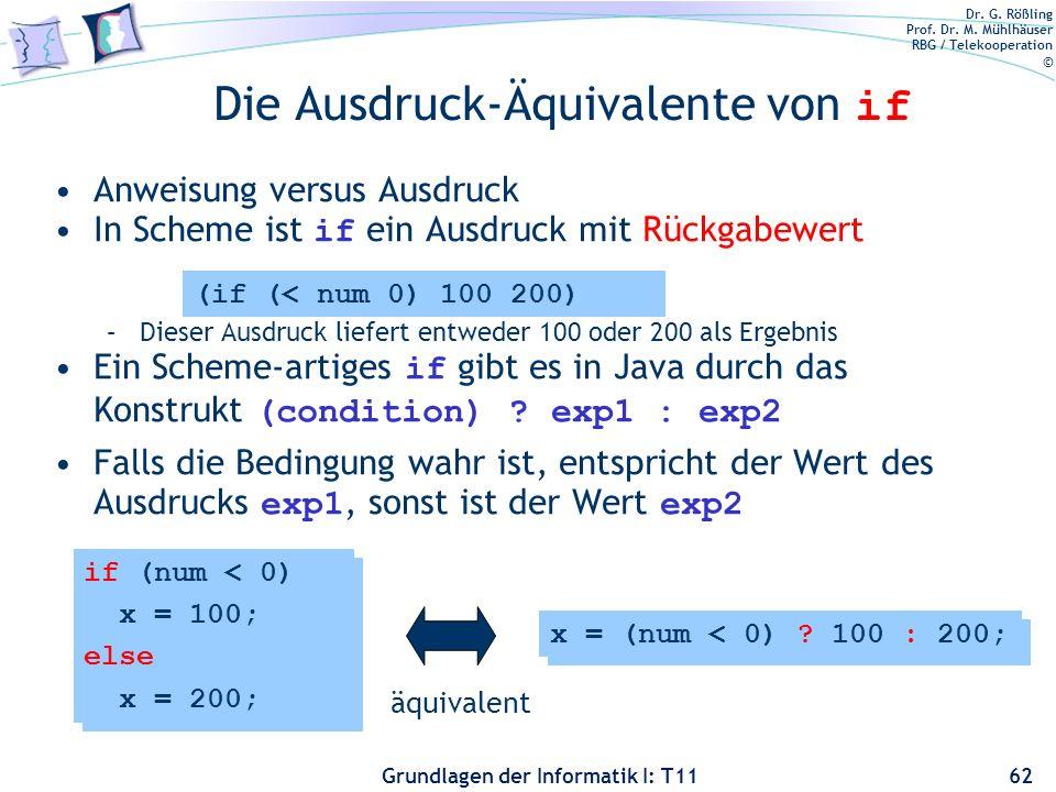 Dr. G. Rößling Prof. Dr. M. Mühlhäuser RBG / Telekooperation © Grundlagen der Informatik I: T11 Die Ausdruck-Äquivalente von if Anweisung versus Ausdr