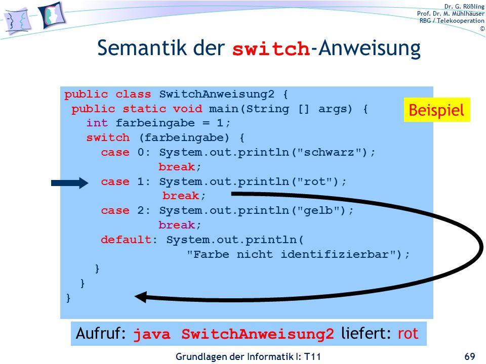 Dr. G. Rößling Prof. Dr. M. Mühlhäuser RBG / Telekooperation © Grundlagen der Informatik I: T11 Semantik der switch -Anweisung 69 public class SwitchA