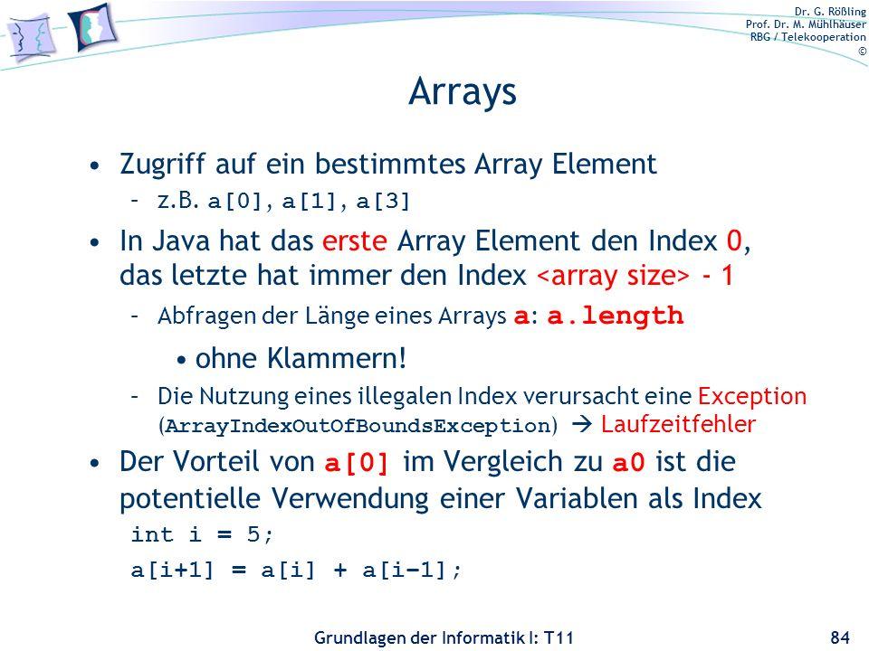 Dr. G. Rößling Prof. Dr. M. Mühlhäuser RBG / Telekooperation © Grundlagen der Informatik I: T11 Arrays Zugriff auf ein bestimmtes Array Element –z.B.