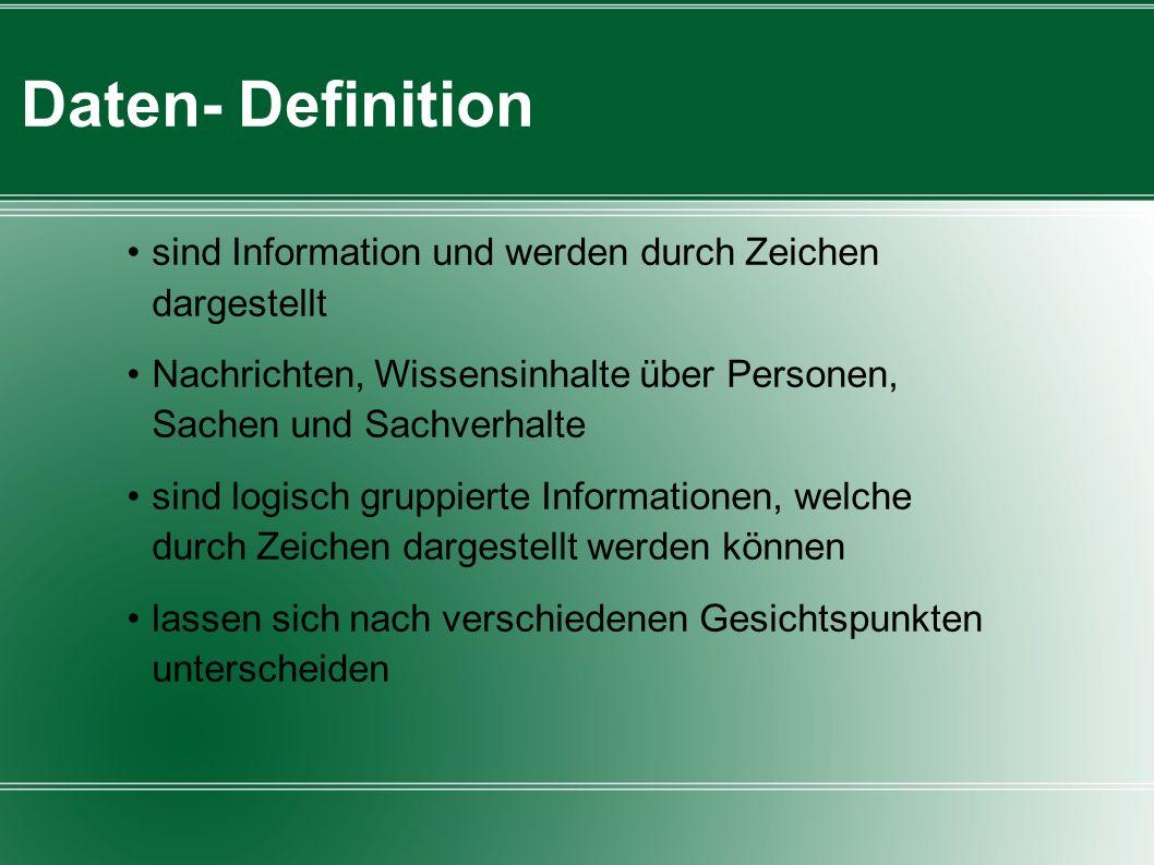 Daten- Definition sind Information und werden durch Zeichen dargestellt Nachrichten, Wissensinhalte über Personen, Sachen und Sachverhalte sind logisc