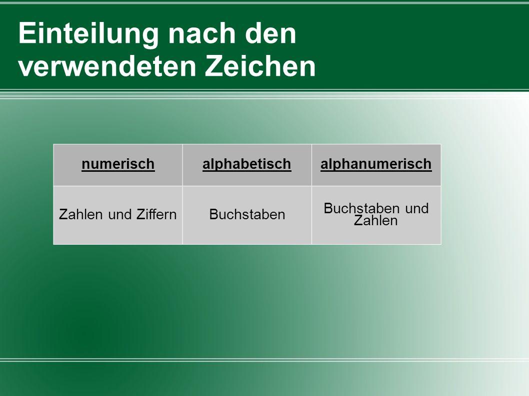 Einteilung nach den verwendeten Zeichen numerischalphabetischalphanumerisch Zahlen und ZiffernBuchstaben Buchstaben und Zahlen