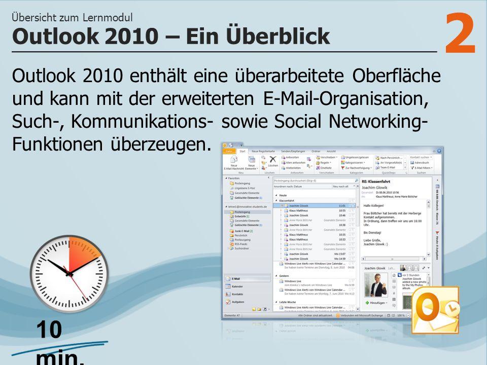 2 Outlook 2010 enthält eine überarbeitete Oberfläche und kann mit der erweiterten E-Mail-Organisation, Such-, Kommunikations- sowie Social Networking-