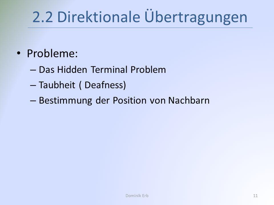 Dominik Erb11 2.2 Direktionale Übertragungen Probleme: – Das Hidden Terminal Problem – Taubheit ( Deafness) – Bestimmung der Position von Nachbarn