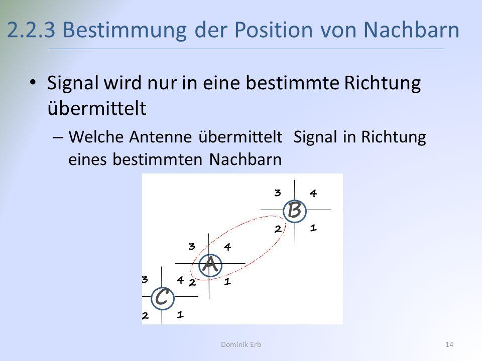 Signal wird nur in eine bestimmte Richtung übermittelt – Welche Antenne übermittelt Signal in Richtung eines bestimmten Nachbarn 2.2.3 Bestimmung der