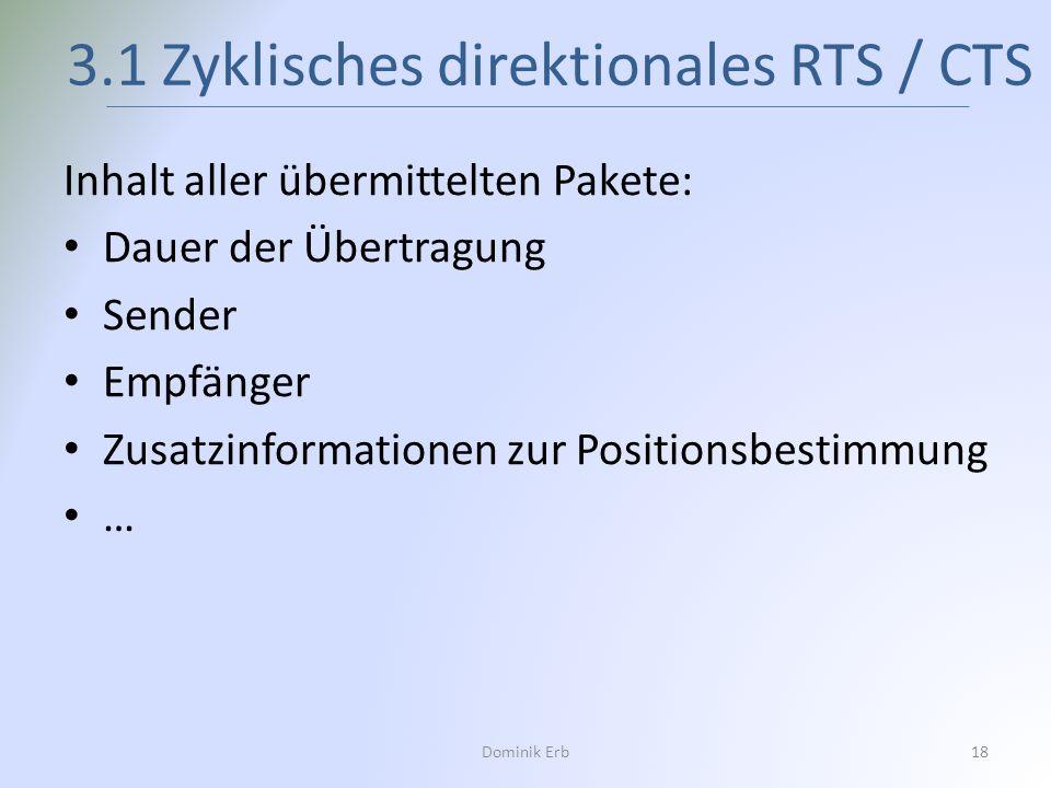 Inhalt aller übermittelten Pakete: Dauer der Übertragung Sender Empfänger Zusatzinformationen zur Positionsbestimmung … 3.1 Zyklisches direktionales R
