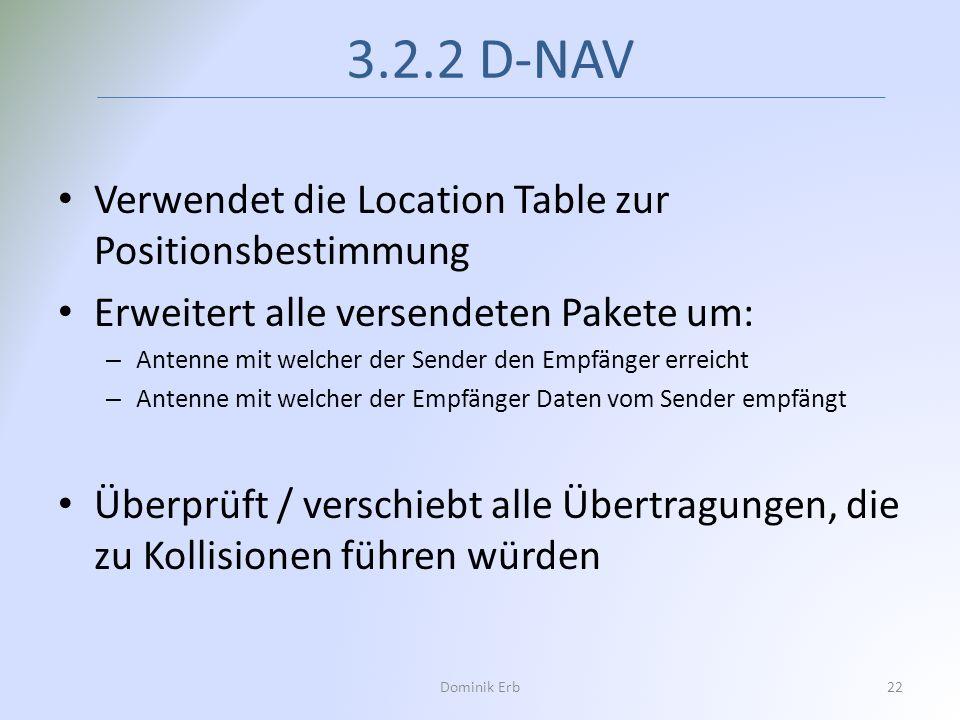 3.2.2 D-NAV Dominik Erb22 Verwendet die Location Table zur Positionsbestimmung Erweitert alle versendeten Pakete um: – Antenne mit welcher der Sender