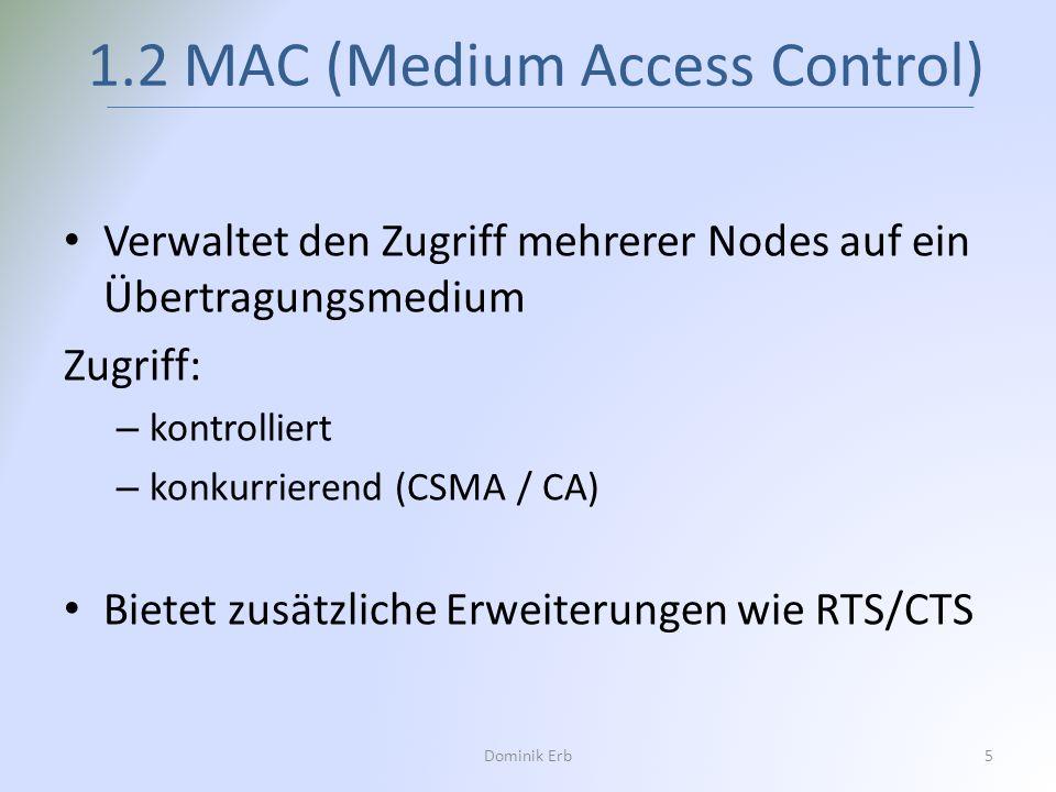 Verwaltet den Zugriff mehrerer Nodes auf ein Übertragungsmedium Zugriff: – kontrolliert – konkurrierend (CSMA / CA) Bietet zusätzliche Erweiterungen w