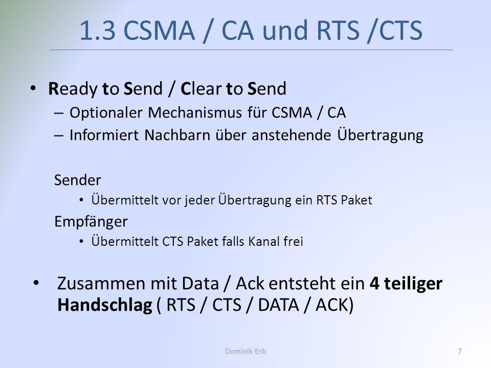 Ready to Send / Clear to Send – Optionaler Mechanismus für CSMA / CA – Informiert Nachbarn über anstehende Übertragung Sender Übermittelt vor jeder Üb