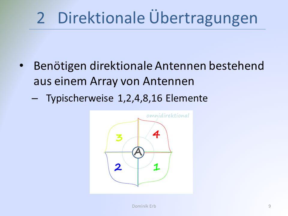 Benötigen direktionale Antennen bestehend aus einem Array von Antennen – Typischerweise 1,2,4,8,16 Elemente 2 Direktionale Übertragungen Dominik Erb9