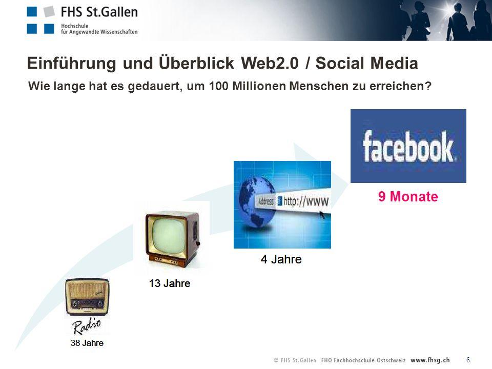 Einführung und Überblick Web2.0 / Social Media 6 Wie lange hat es gedauert, um 100 Millionen Menschen zu erreichen