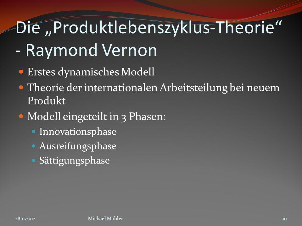 Die Produktlebenszyklus-Theorie - Raymond Vernon Erstes dynamisches Modell Theorie der internationalen Arbeitsteilung bei neuem Produkt Modell eingeteilt in 3 Phasen: Innovationsphase Ausreifungsphase Sättigungsphase 28.11.201210Michael Mahler