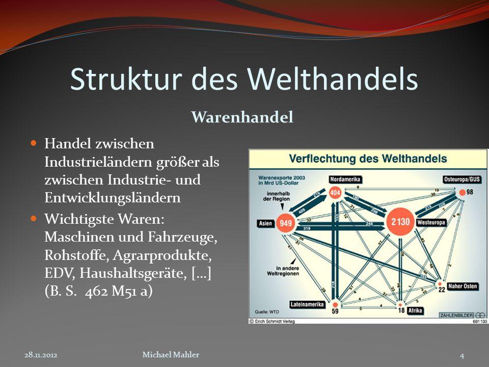 Struktur des Welthandels Warenhandel Handel zwischen Industrieländern größer als zwischen Industrie- und Entwicklungsländern Wichtigste Waren: Maschin