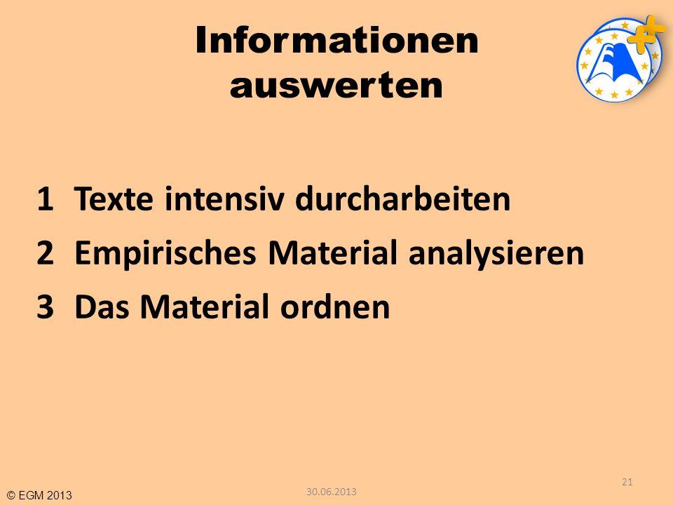 © EGM 2013 Informationen auswerten 1Texte intensiv durcharbeiten 2Empirisches Material analysieren 3Das Material ordnen 21 30.06.2013