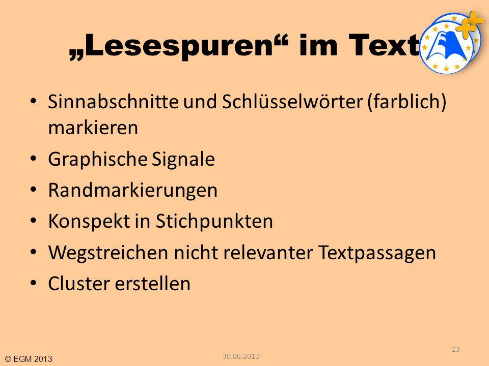 © EGM 2013 Lesespuren im Text Sinnabschnitte und Schlüsselwörter (farblich) markieren Graphische Signale Randmarkierungen Konspekt in Stichpunkten Weg