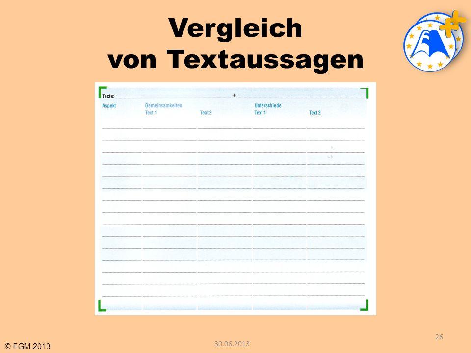 © EGM 2013 Vergleich von Textaussagen 26 30.06.2013