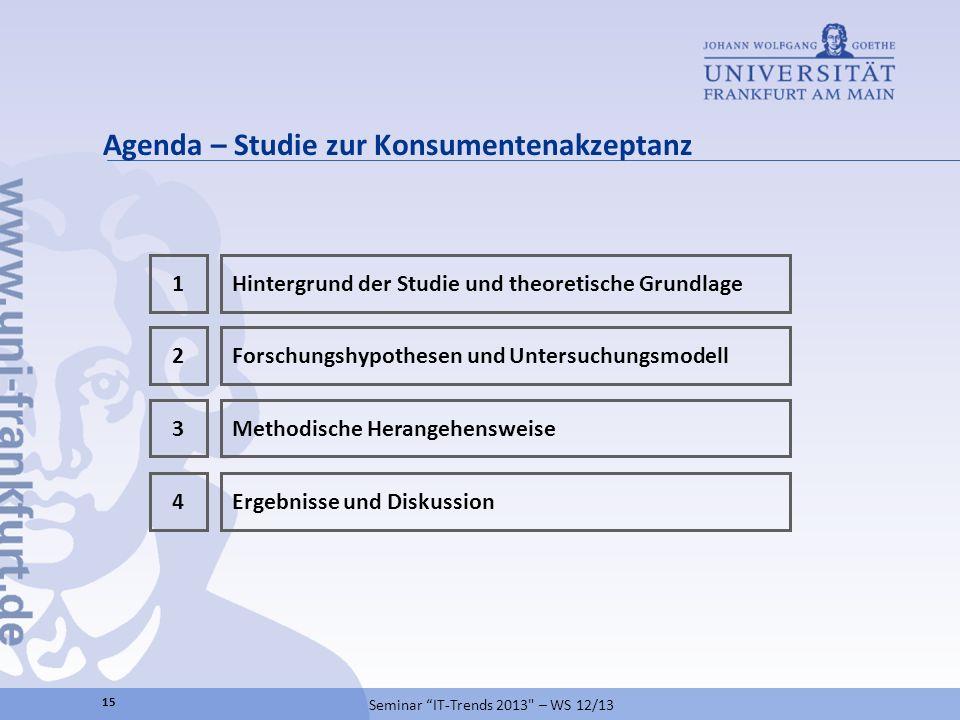 Agenda – Studie zur Konsumentenakzeptanz 15 Seminar IT-Trends 2013