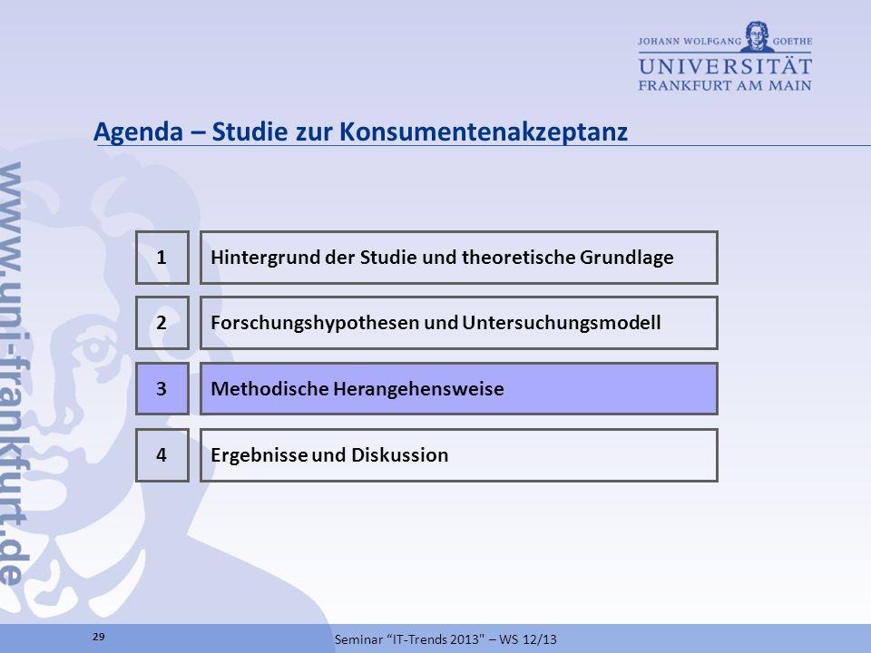 Agenda – Studie zur Konsumentenakzeptanz 29 Seminar IT-Trends 2013