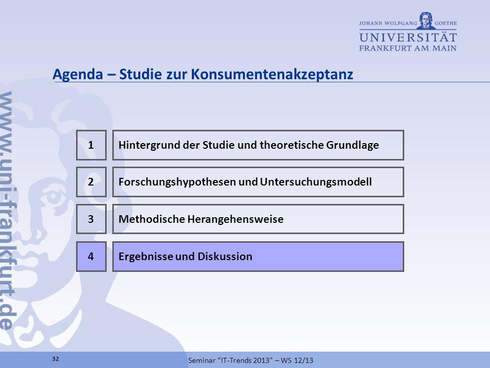 Agenda – Studie zur Konsumentenakzeptanz 32 Seminar IT-Trends 2013