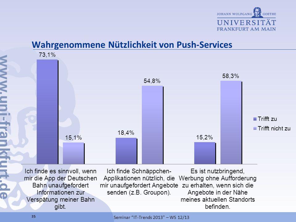Wahrgenommene Nützlichkeit von Push-Services Seminar IT-Trends 2013