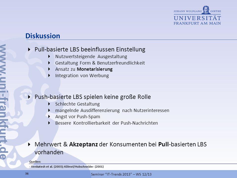Diskussion Pull-basierte LBS beeinflussen Einstellung Nutzwertsteigende Ausgestaltung Gestaltung Form & Benutzerfreundlichkeit Ansatz zu Monetarisieru