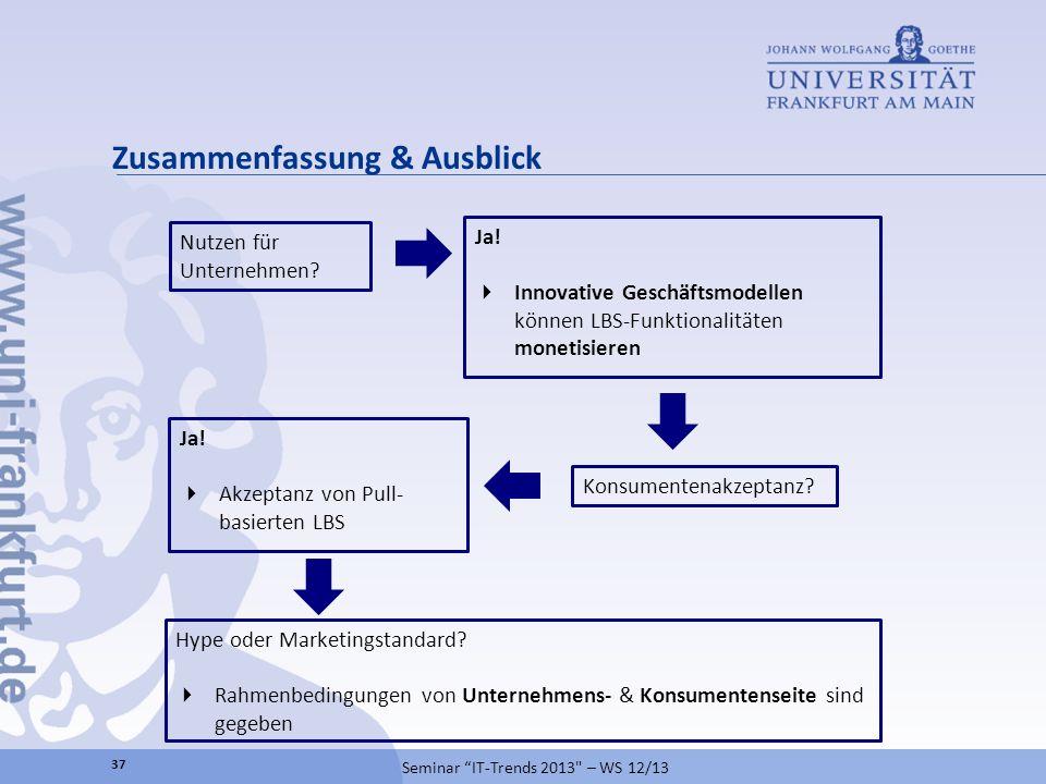 Zusammenfassung & Ausblick Seminar IT-Trends 2013