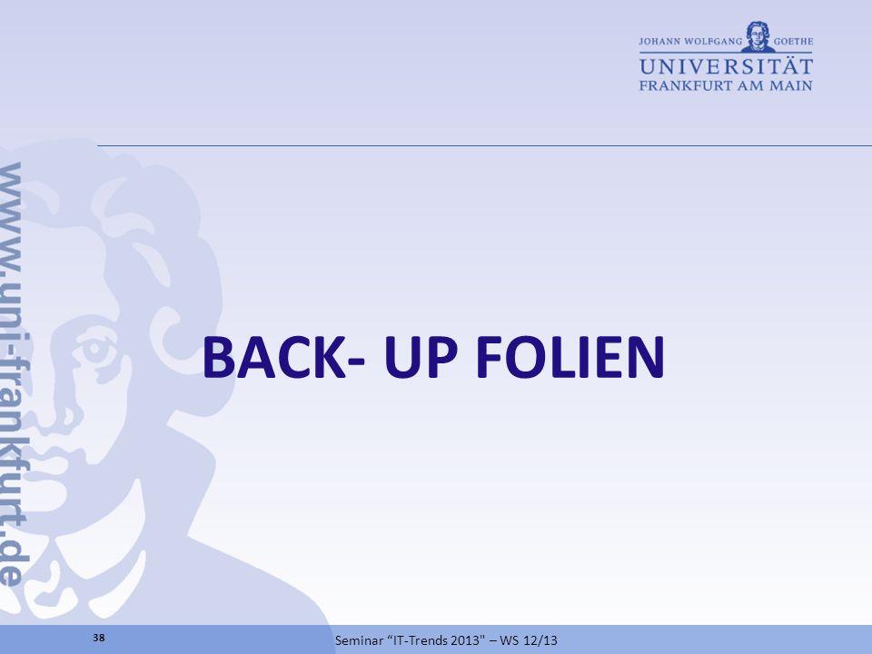BACK- UP FOLIEN Seminar IT-Trends 2013