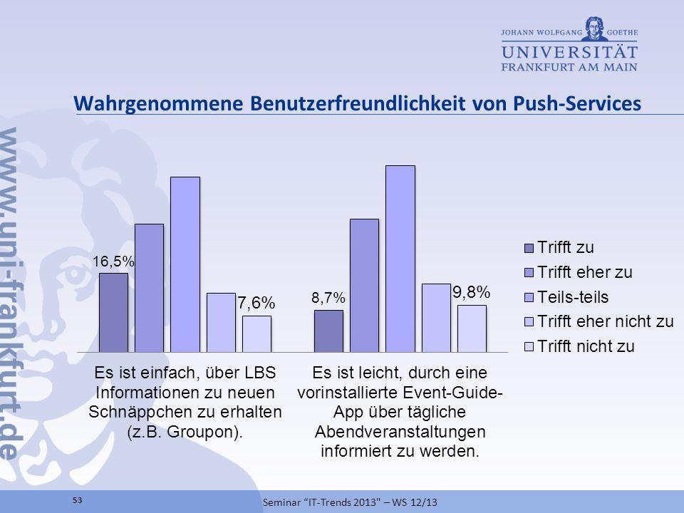 Wahrgenommene Benutzerfreundlichkeit von Push-Services Seminar IT-Trends 2013