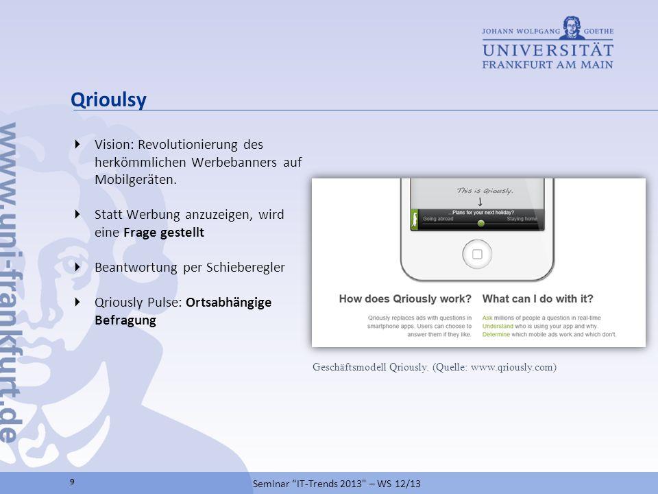 Qrioulsy Vision: Revolutionierung des herkömmlichen Werbebanners auf Mobilgeräten. Statt Werbung anzuzeigen, wird eine Frage gestellt Beantwortung per