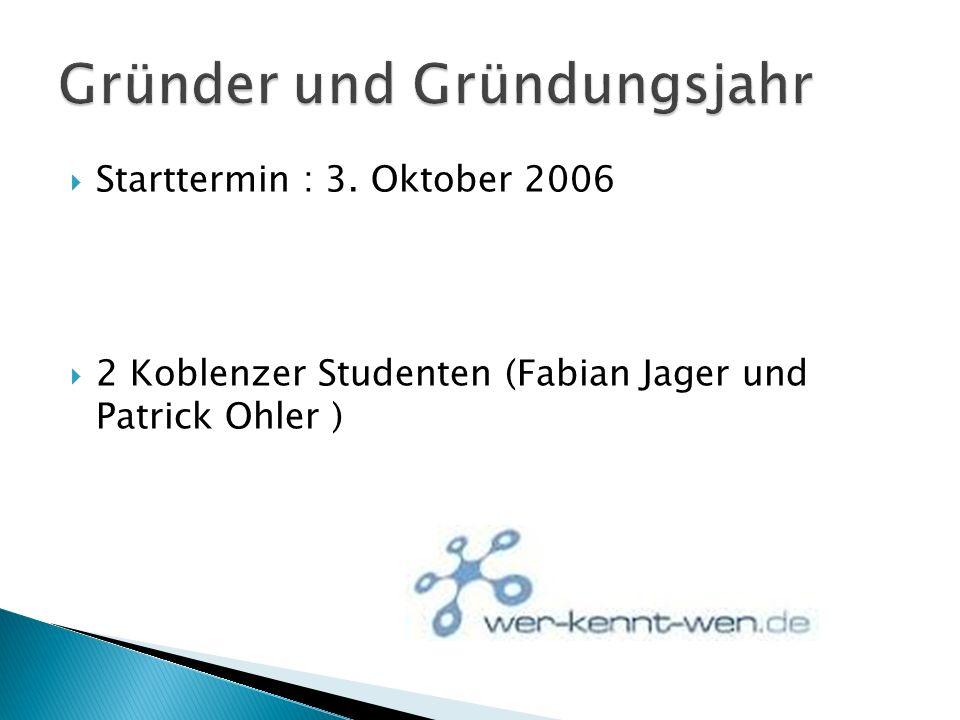 Starttermin : 3. Oktober 2006 2 Koblenzer Studenten (Fabian Jager und Patrick Ohler )