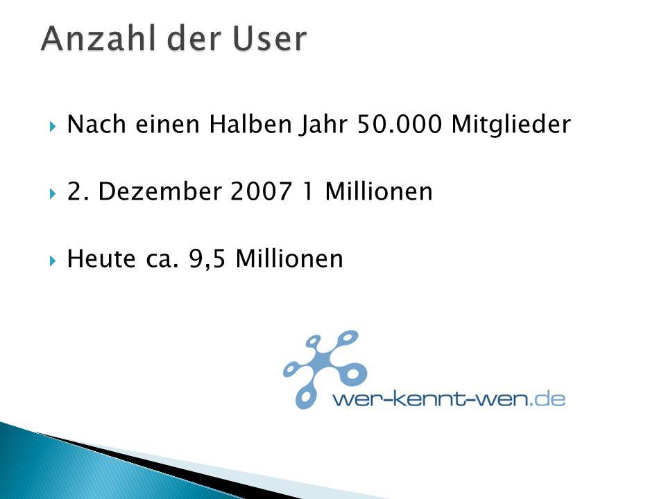 Nach einen Halben Jahr 50.000 Mitglieder 2. Dezember 2007 1 Millionen Heute ca. 9,5 Millionen