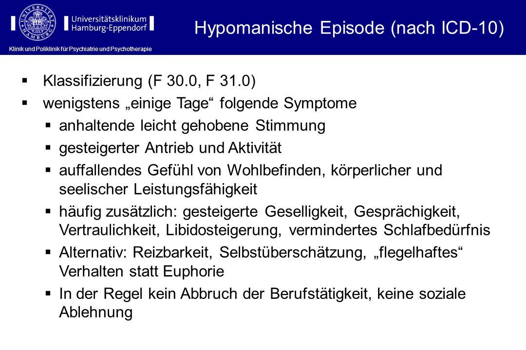 Klinik und Poliklinik für Psychiatrie und Psychotherapie Hypomanische Episode (nach ICD-10) Klassifizierung (F 30.0, F 31.0) wenigstens einige Tage fo