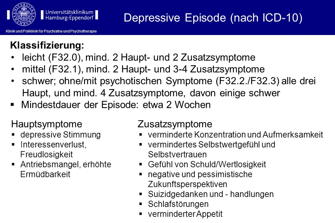 Klinik und Poliklinik für Psychiatrie und Psychotherapie Depressive Episode (nach ICD-10) Hauptsymptome depressive Stimmung Interessenverlust, Freudlo