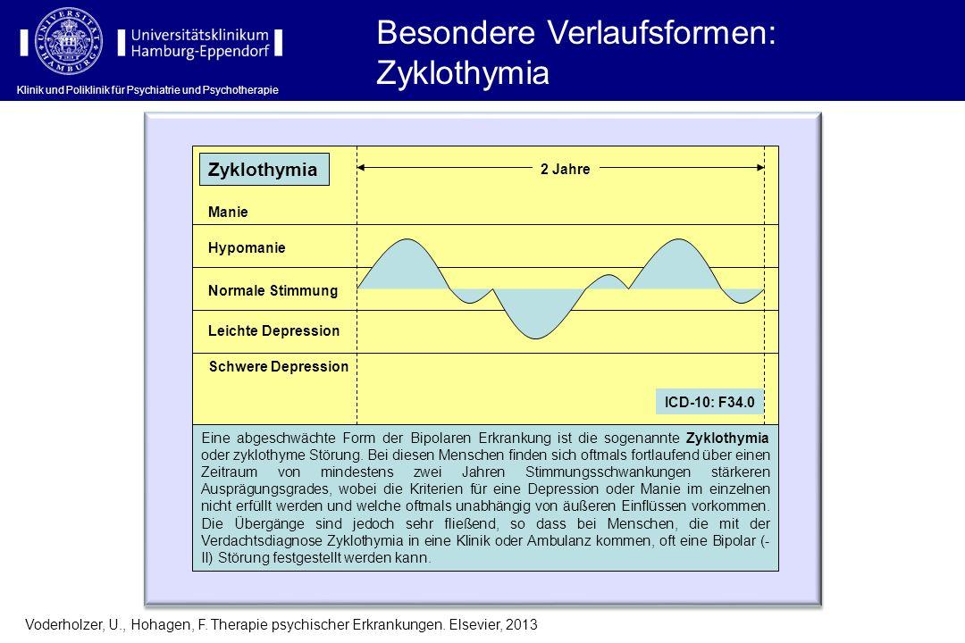 Klinik und Poliklinik für Psychiatrie und Psychotherapie Besondere Verlaufsformen: Zyklothymia Voderholzer, U., Hohagen, F. Therapie psychischer Erkra