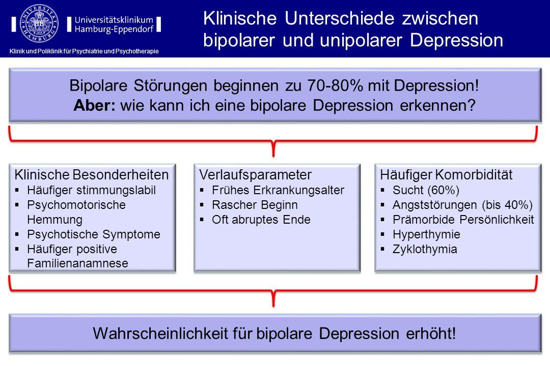 Klinik und Poliklinik für Psychiatrie und Psychotherapie Klinische Unterschiede zwischen bipolarer und unipolarer Depression Bipolare Störungen beginn