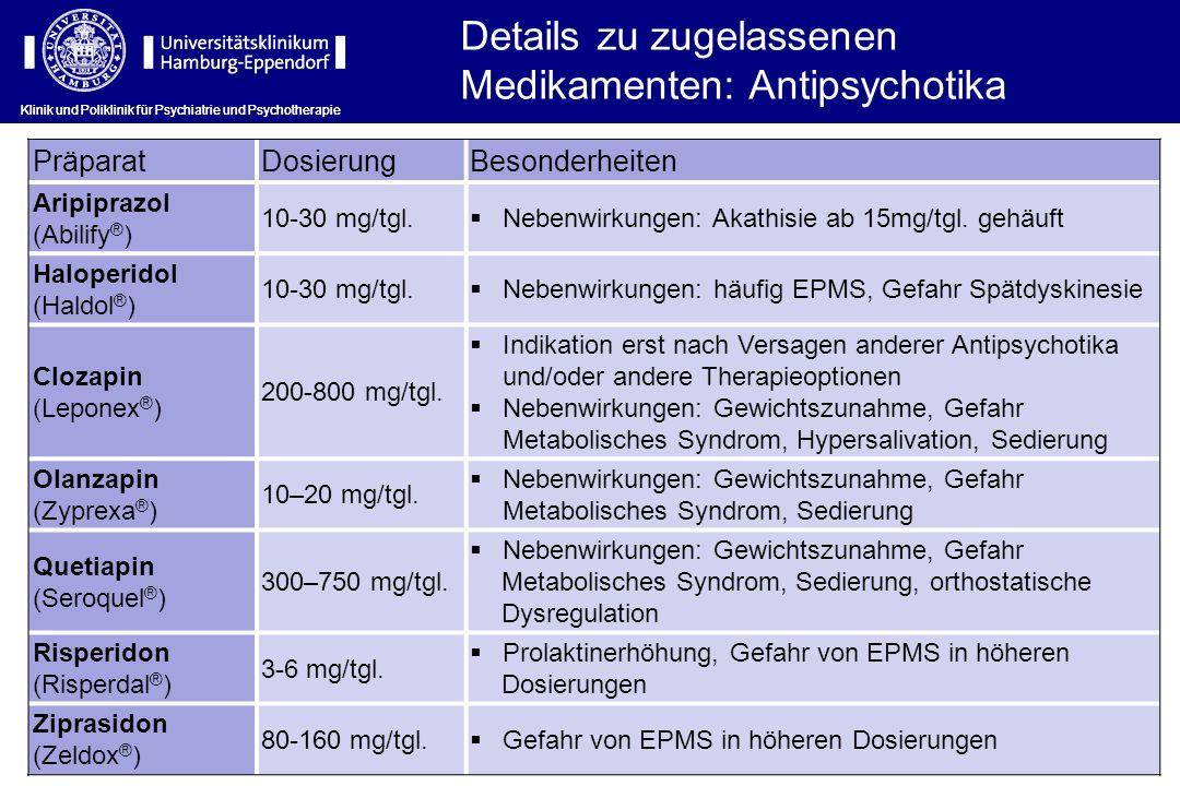 Klinik und Poliklinik für Psychiatrie und Psychotherapie PräparatDosierungBesonderheiten Aripiprazol (Abilify ® ) 10-30 mg/tgl. Nebenwirkungen: Akathi