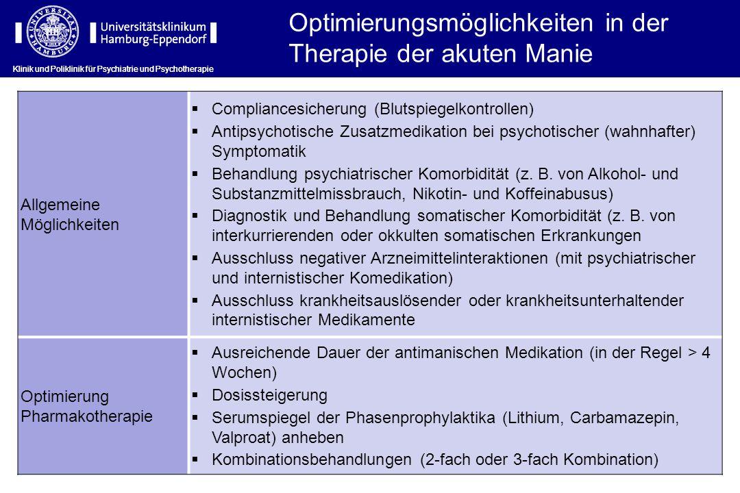 Klinik und Poliklinik für Psychiatrie und Psychotherapie Allgemeine Möglichkeiten Compliancesicherung (Blutspiegelkontrollen) Antipsychotische Zusatzm