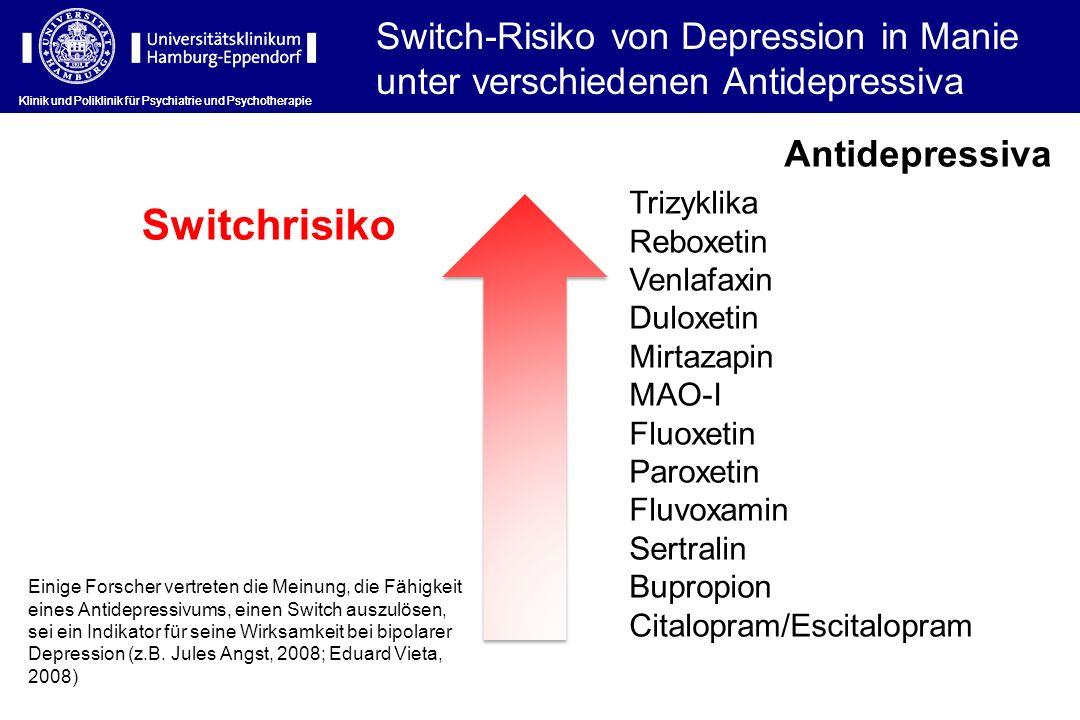Klinik und Poliklinik für Psychiatrie und Psychotherapie Switch-Risiko von Depression in Manie unter verschiedenen Antidepressiva Switchrisiko Antidep