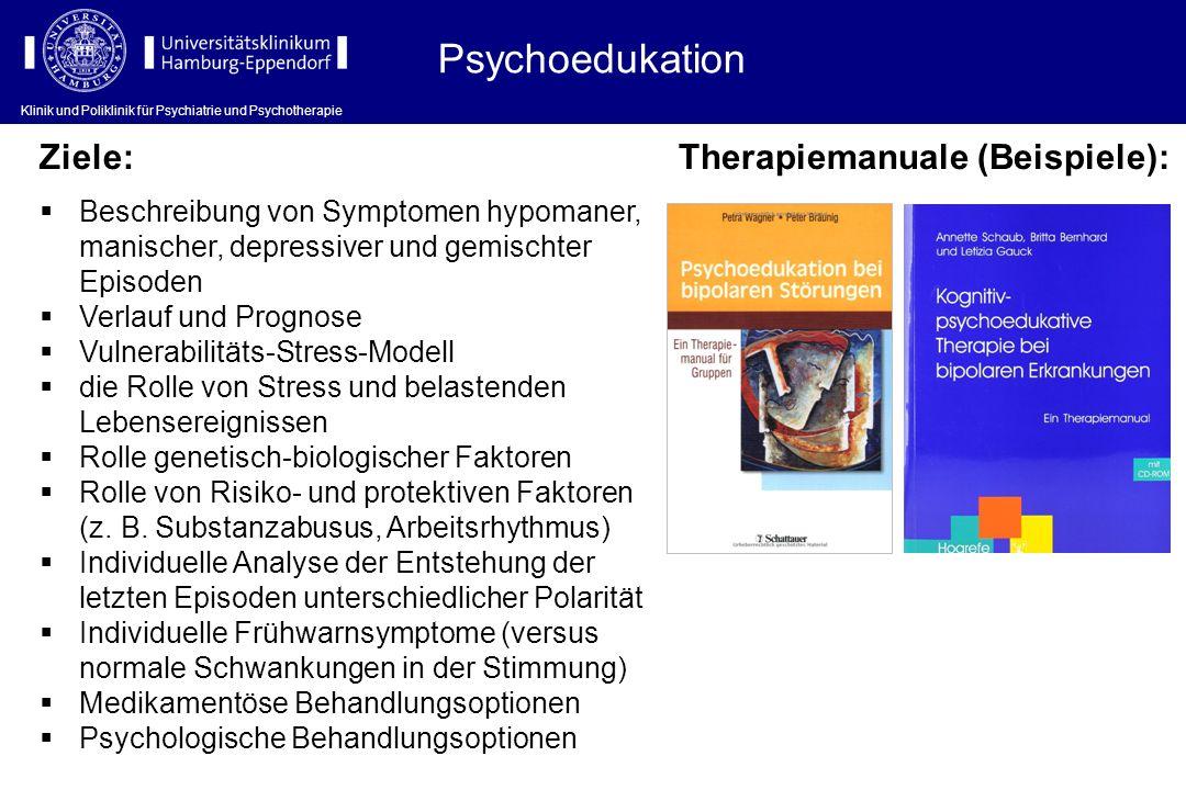 Klinik und Poliklinik für Psychiatrie und Psychotherapie Psychoedukation Klinik und Poliklinik für Psychiatrie und Psychotherapie Therapiemanuale (Bei