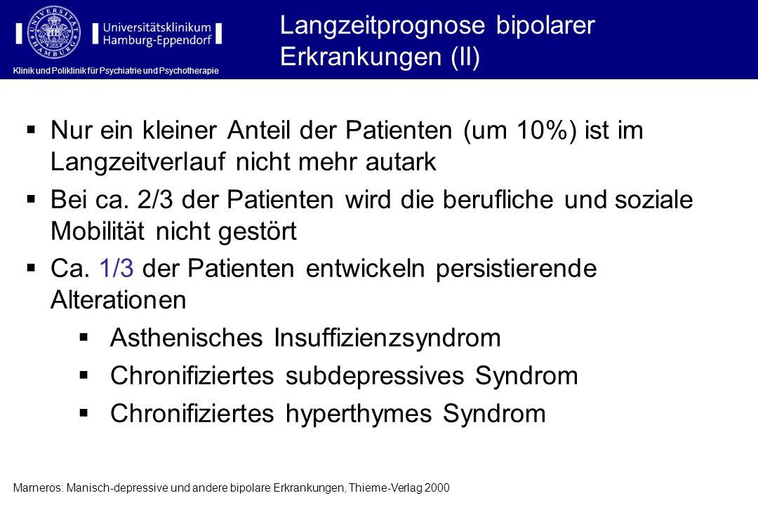Klinik und Poliklinik für Psychiatrie und Psychotherapie Langzeitprognose bipolarer Erkrankungen (II) Nur ein kleiner Anteil der Patienten (um 10%) is