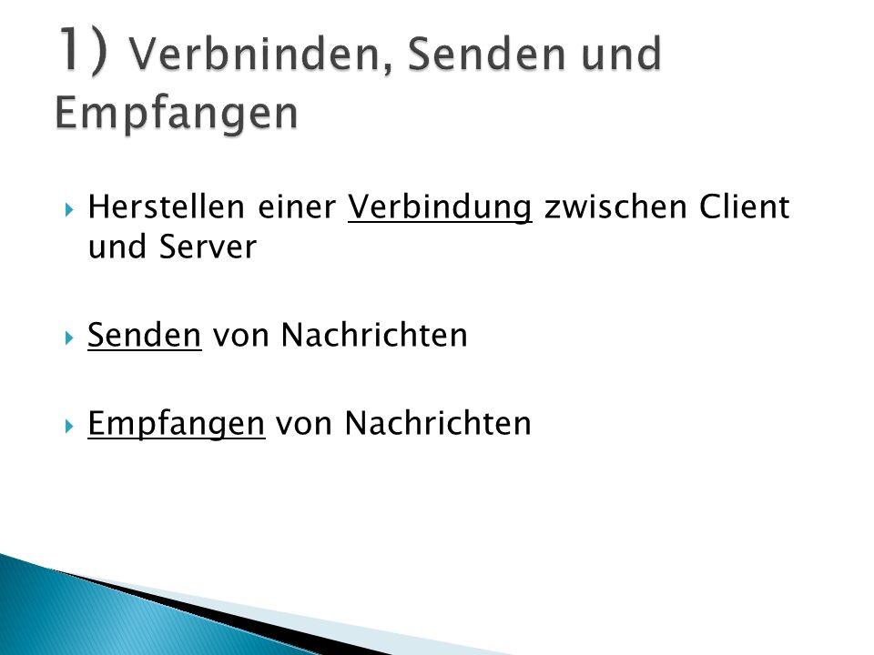 1) Eine Socket-Verbindung herstellen 2) Einen PrintWriter erzeugen, der mit dem Verbindungsstrom verkettet ist 3) Etwas schreiben Socket sock = new Socket ( 127.0.0.1 , 4242) ; PrintWriter writer = new PrintWriter (sock.getOutputStream () ) ; writer.println (zu sendende Nachricht) ;