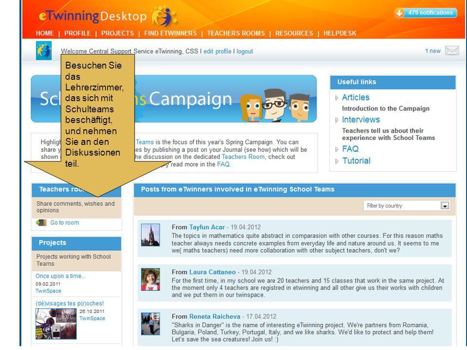 Besuchen Sie das Lehrerzimmer, das sich mit Schulteams beschäftigt, und nehmen Sie an den Diskussionen teil.