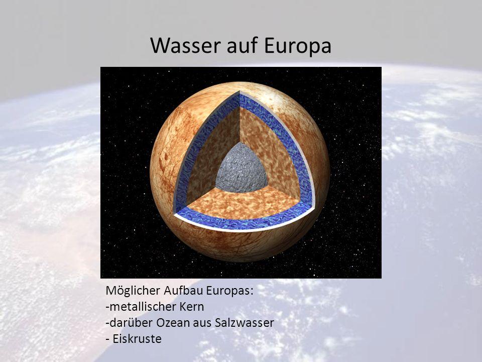 Wasser auf Europa Möglicher Aufbau Europas: -metallischer Kern -darüber Ozean aus Salzwasser - Eiskruste
