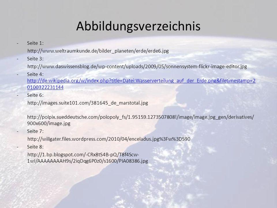 Abbildungsverzeichnis -Seite 1: http://www.weltraumkunde.de/bilder_planeten/erde/erde6.jpg -Seite 3: http://www.daswissensblog.de/wp-content/uploads/2009/05/sonnensystem-flickr-image-editor.jpg -Seite 4: http://de.wikipedia.org/w/index.php?title=Datei:Wasserverteilung_auf_der_Erde.png&filetimestamp=2 0100322231144 http://de.wikipedia.org/w/index.php?title=Datei:Wasserverteilung_auf_der_Erde.png&filetimestamp=2 0100322231144 -Seite 6: http://images.suite101.com/381645_de_marstotal.jpg http://polpix.sueddeutsche.com/polopoly_fs/1.95159.1273507808!/image/image.jpg_gen/derivatives/ 900x600/image.jpg -Seite 7: http://willgater.files.wordpress.com/2010/04/enceladus.jpg%3Fw%3D590 -Seite 8: http://1.bp.blogspot.com/-CRx8tS4B-pQ/T8f4Scw- 1wI/AAAAAAAAH9s/2iqDqg6P0z0/s1600/PIA08386.jpg