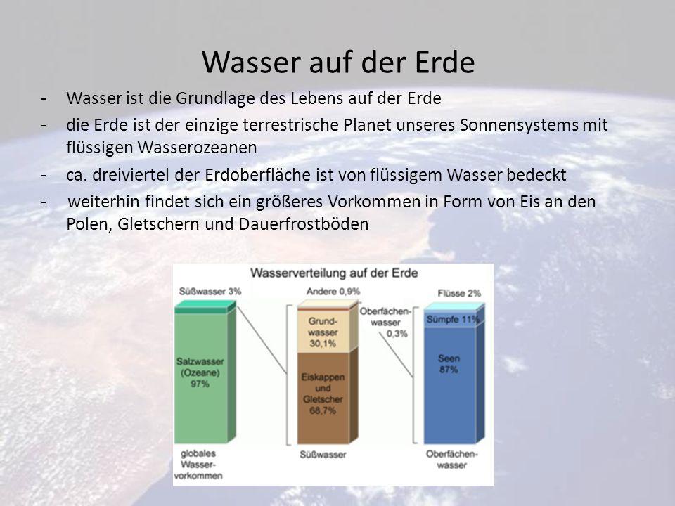 Wasser auf der Erde -Wasser ist die Grundlage des Lebens auf der Erde -die Erde ist der einzige terrestrische Planet unseres Sonnensystems mit flüssigen Wasserozeanen -ca.