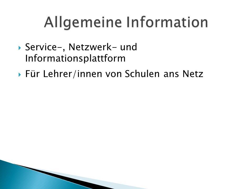 Service-, Netzwerk- und Informationsplattform Für Lehrer/innen von Schulen ans Netz
