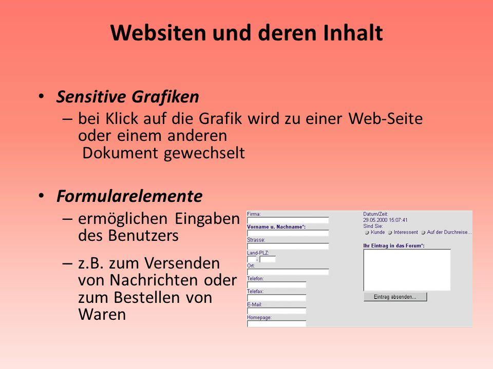 Websiten und deren Inhalt Sensitive Grafiken – bei Klick auf die Grafik wird zu einer Web-Seite oder einem anderen Dokument gewechselt Formularelement