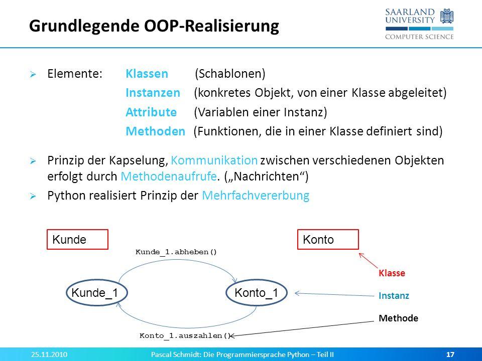 Grundlegende OOP-Realisierung Elemente: Klassen (Schablonen) Instanzen (konkretes Objekt, von einer Klasse abgeleitet) Attribute (Variablen einer Inst