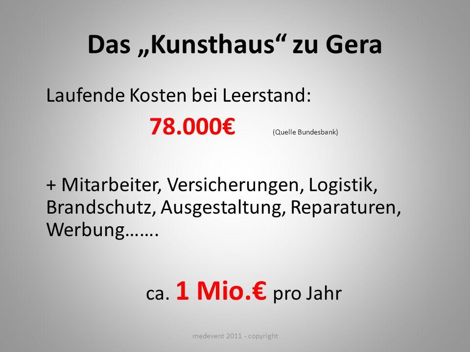 Das Kunsthaus zu Gera Laufende Kosten bei Leerstand: 78.000 (Quelle Bundesbank) + Mitarbeiter, Versicherungen, Logistik, Brandschutz, Ausgestaltung, R