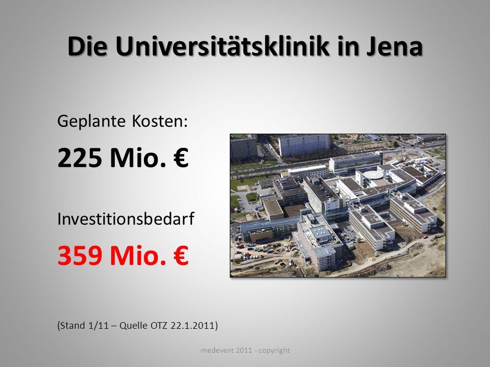 Die Universitätsklinik in Jena Geplante Kosten: 225 Mio. Investitionsbedarf 359 Mio. (Stand 1/11 – Quelle OTZ 22.1.2011) medevent 2011 - copyright